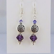 Irish Silver Celtic Knot Earring with Tanzanite Swarovski Crystal beads purple