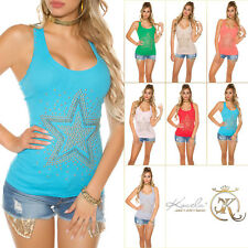 Top Sexy KouCla Longtop Tailliertes Tanktop mit Strass Shirt Bluse 34/36/38