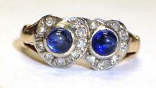 14K 18K  Gold Antique Art Deco Natural Sapphire and Diamond Heart Twin Ring 6