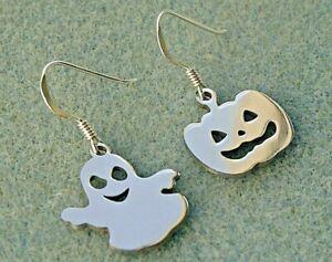 Ghost Pumpkin Halloween Earrings, Spooky, Samhain, Trick or Treat, Spirit, Haunt