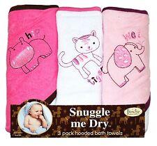 Girls, Wild Animal Design, Hooded Bath Baby Infant Towel Set, 3 Pack Knit Ter...