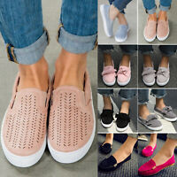 Women's Flat Casual Sneakers Slip On Trainers Loafers Plimsolls Pumps Shoes Size