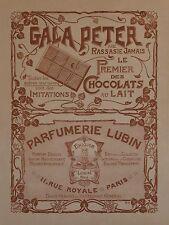 """""""CHOCOLAT GALA PETER / PARFUM LUBIN """"Affiche originale entoilée A.H.1904"""