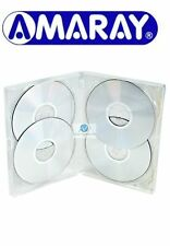 100 x 4 Way Clear DVD 15mm Spine Holds 4 Discs Empty New Replacement Case Amaray