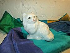 "Vintage Pretty Porcelain White Persian Kitten Cat 3"" X 3"" Gold Trim Toes"