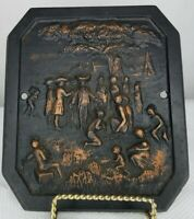 Antique Cast Iron Plaque of Penn's Treaty Early American Colonial Pennsylvania