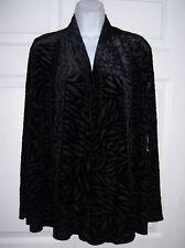Jones New York Women's Small Black Velvet Evening Jacket Swing Style Zebra Print