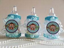 12 Monkey Blue Fillable Bottles Baby Shower Boy Favors Safari Jungle Noah Animal