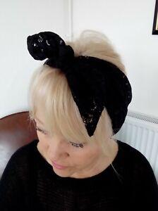 HEAD SCARF HAIR BAND black stretchy LACE SELF TIE BOW  NECK ROCKABILLY SWING
