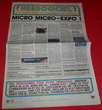 Magazine hebdogiciel [no. 71 22 feb 85] amstrad commodore msx to7 mo5 no tilt jrf