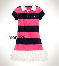 Ralph Lauren Girls Dress Striped Navy Pink Short Sleeve Ruffles Size S/7/ NWT