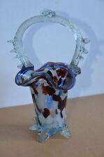 Glas Körbchen Handarbeit Handgeblasen weiß bunt Henkelschale Korb alt aufwendig
