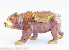 Grizzly Bear Jewelled & Enamelled Trinket Box or Figurine