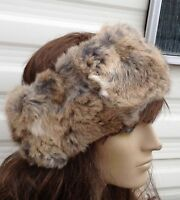 natural brown beige real genuine rabbit fur pelt ear warmer headband unisex hat