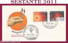 ITALIA FDC ROMA 1977 DONIAMO SANGUE DONATORI  ANNULLO TORINO G791