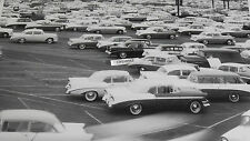 """12 By 18"""" Black & White Picture 1956 Chevrolet New Car Storage Lot"""