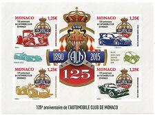MONACO, F 2986 RARE bloc NON DENTELE 125 ans de l'AUTOMOBILE CLUB MONACO, TB **