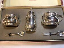 Silver hallmarked Birmingham 19513 piece condiment set in original box.