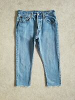 Levis 501 Slim Straight Cropped High Rise Blue Womens Jeans Size 12 W30 L22