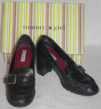 Tommy Hilfiger Womens Solid Black Smooth Pinch Buckle High Heeled Pumps Sz 8M