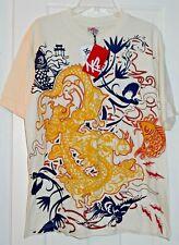 New SEVEN SOULS Dragon Koi Fish Egret Crane Bird Tattoo Stone Ecru Shirt~S~$0SH