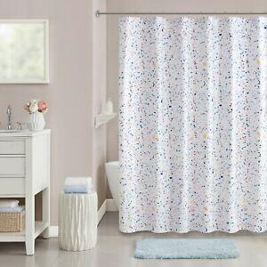 "Terazzo Paint Splatter 72"" Geometric Woven Microfiber Unlined Shower Curtain"
