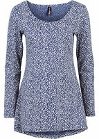 Damen Longshirt langarm Rundhals in blau weiß bedruckt Größe 36/38 NEU