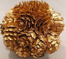 """Pier 1 4"""" Gold/ Bronze Tone Mini Pine cone Decorative Ball Christmas Ornament"""