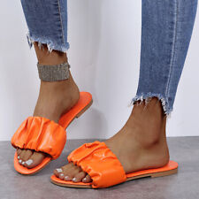 Summer Peep Toe Flats Outdoor Comforty Beach Pleated Slippers Sandals Slides