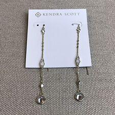 NEW Kendra Scott Monica Threader Dangle Earrings in Gold Rock Crystal & CZ $60