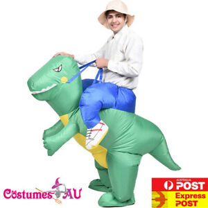 Mens Inflatable Dinosaur Ride on T-Rex Trex Rider Adult Costume Blow Up Party