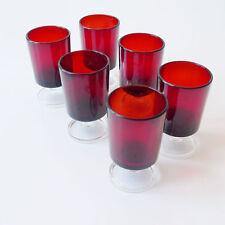 6 petits verres rouges vintage années 70 design 1970 scandinave