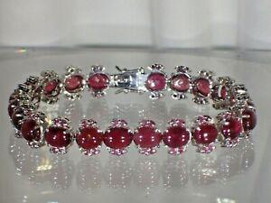 "Blood Red Ruby Cabochn 14K Gold Plated on .925 Sterling Silver 7"" Bracelet #1279"