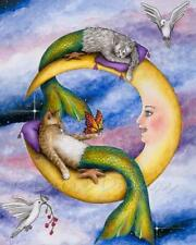 Art Print 8x10 Cat Mermaid 29 moon fantasy painting by Lucie Dumas
