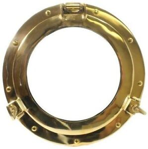 "11"" Brass Porthole Window: Maritime and Nautical Décor.. Maritime Fan Gift"