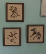 Set of 3 Finished Needlepoint/ Petit Point Birds Beautifully done&Framed