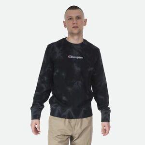 Champion Tie Dye Terry Crewneck Men's Black Dark Grey Sportswear Activewear Crew