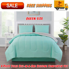 8 Piece Solid Bed-in-a-Bag Bedding Comforter Set with Bonus Sheets, Queen, Mint