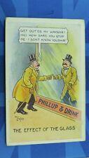 Vintage Reg Carter Comic Postcard 1910's Drinking Drunk PHILLUP & DRINK