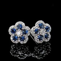 1 CT. Diamond Pave Blue Sapphire Flower Earrings 14k White Gold Studs Screw-Back