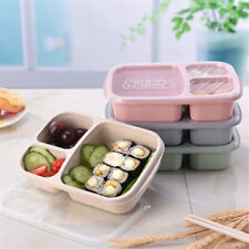 3 Grid Wheat Straw Microwavable Meal Storage Food Prep Bento Box Lunch Container