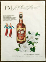 1947 PM De Luxe Blended Whiskey Print Ad For Pleasant Moments Waiter Bellhop