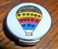 """Hot Air Balloon Rhinestone 1"""" Golf Ball Marker with Magnetic Silver Hat Clip"""
