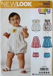 New Look 6520 Baby Girls Rompers Dresses Panties Sewing Pattern Sz NB-L