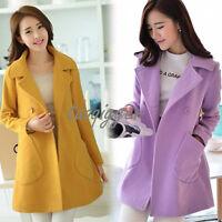 Elegant Women Lapel Mid Long Coat Fashion A-line Wool Blend Jacket Peacoat S-4XL