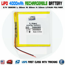 3.7V 4000mAh 358090 Polymer Lithium LiPo Rechargeable Battery USA