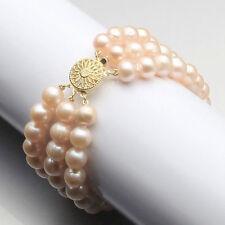 "New 2017 gift 3 rows 7-8mm Pink freshwater akoya pearl bracelet 7.5"" Round buck"
