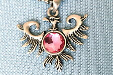 PHOENIX RISING FROM THE ASHES PINK BEAD PEWTER PENDANT NECKLACE CHAIN  PC0564