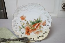 Antique Cabinet Plate Peach Orange Blooming Flowers w Daisies Cutwork Rim Golds