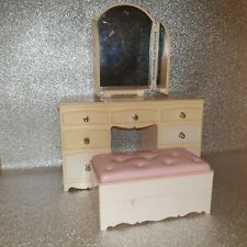 Vintage 1980s Pedigree Sindy pink bedroom dressing table mirror and stool box